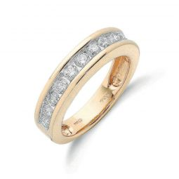 18ct Yellow Gold 1.00cts Diamond Half Eternity Ring