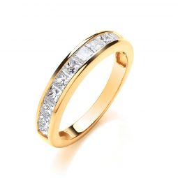 18ct Yellow Gold 1.00cts Diamond Half Eternity Ring 4mm