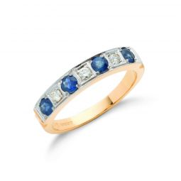 18ct Yellow Gold Diamond Blue Sapphire Half Eternity Ring