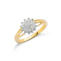 9ct Yellow Gold 0.25cts Diamond Cluster Ring
