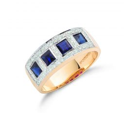 9ct Yellow Gold Diamond and Blue Sapphire Half Eternity Ring 7.5mm
