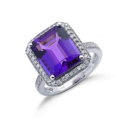 9ct White  Gold 0.30ct Diamond & 5.45ct Amethyst Ring