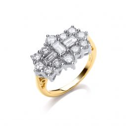 18ct Yellow Gold 2.00cts Diamond Boat/Cluster Ring