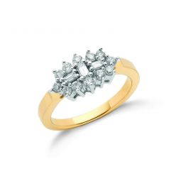 18ct Yellow Gold 0.50cts Diamond Boat/Cluster Ring