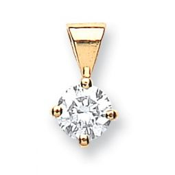 18ct Yellow Gold 0.35ct Claw Set Diamond Pendant