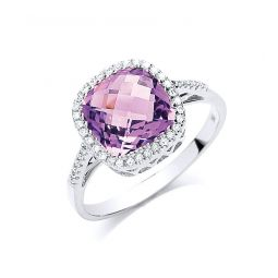 9ct Gold 0.15ct Diamond & 2.65ct Amethyst Ring