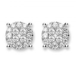 18ct White Gold Cluster 0.75ct Diamond Studs