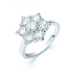 18ct White Gold 7 Stones 2.0cts Cluster Diamond Ring
