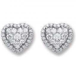 18ct White Gold 0.45ct Diamond Heart Stud Earrings