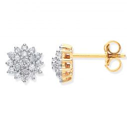 9ct Yellow Gold 0.50cts Diamond Cluster Studs 7.5mm