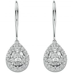18ct White Gold 1.70cts Diamond Drop Earrings