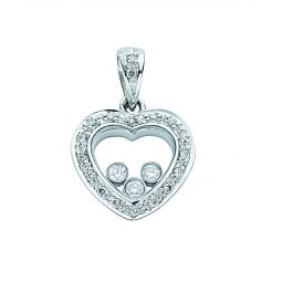 18ct White Gold 0.18ct Floating Diamond Heart Pendant
