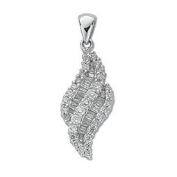18ct White Gold 0.75ct Brilliant & Baguette Diamond Pendant