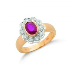 18ct Yellow Gold 0.40ct Diamond & Ruby Cluster Ring