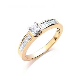 18ct Yellow Gold 0.50cts Princess Cut Centre Diamond Ring