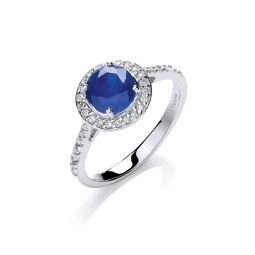 9ct White Gold 0.20ct Diamond, 0.65ct 5mm Sapphire Ring