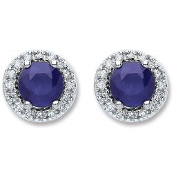 9ct White Gold And Round Sapphire Stud Earrings