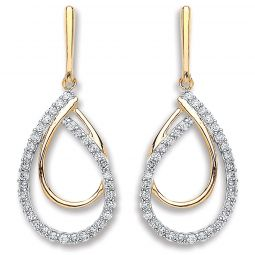 9ct Yellow Gold 0.20cts Diamond Drop Earrings