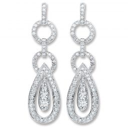 9ct White Gold 0.50cts Diamond Drop Earrings