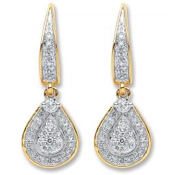 9ct Yellow Gold 0.25cts Diamond Drop Earrings