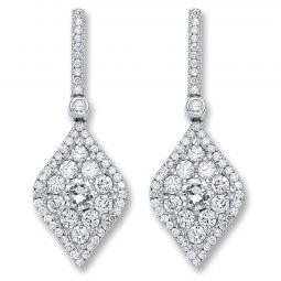 18ct White Gold And 1.50cts Diamond Drop Earrings