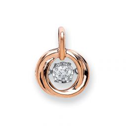 9ct Rose Gold 0.10ct Dancing Diamond Circle Pendant