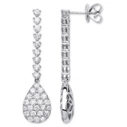 18ct White Gold And Diamond 2.35ct Drop Earrings