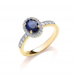 9ct 0.30ct Diamond & Oval Sapphire yellow Gold Ring