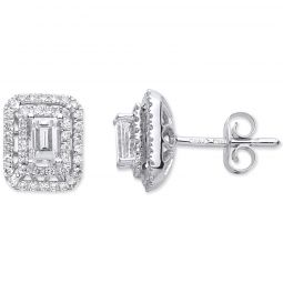 18ct White Gold 0.70ct Emerald Cut Diamond Earrings