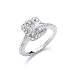 18ct White Gold 0.83cts Diamond Ring