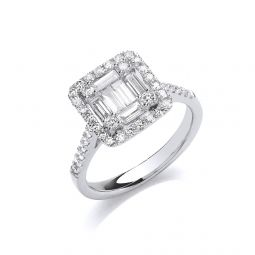 18ct White Gold 1.00ct Square Halo Style Ring
