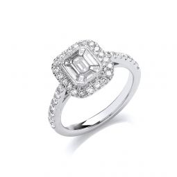 18ct White Gold 1.00ct Emerald Cut Style Halo Style Ring