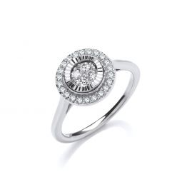 9ct White Gold 0.25cts Diamond Cluster Ring with D/C Bezel