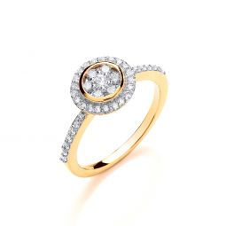 18ct Yellow Gold 0.45cts Round Top With Diamond Set Shoulders Ring