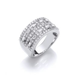 18ct White Gold Baguettes & Rd 1.00cts Diamond Dress Ring