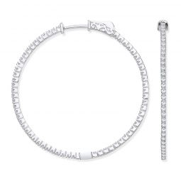 18ct White Gold 1.14cts Diamond Set Hoop Earrings