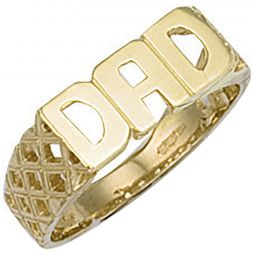 9ct Yellow Gold Basket Sides Dad Ring