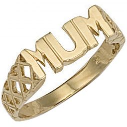 9ct Yellow Gold Basket Sides Mum Ring