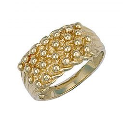 9ct Yellow Gold Woven Back 4 Row Keeper Ring 10.5mm