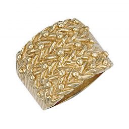 9ct Yellow Gold Woven Back 5 Row Keeper Ring 20.5mm