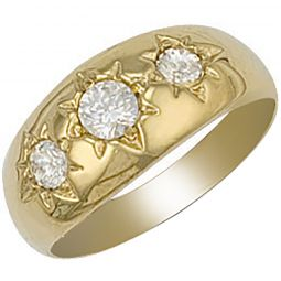 9ct Yellow Gold Gents 3 Stone Cz Ring