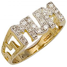 9ct Yellow Gold Cz ID Sides Mum Ring