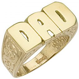 9ct Yellow Gold Patterned Sides Dad Ring