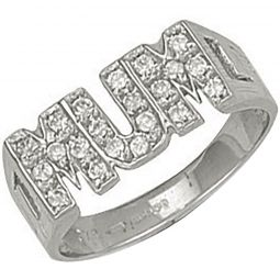 9ct White Gold CZ Mum Ring