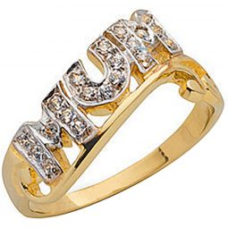 9ct Yellow Gold Cz Fancy Mum Ring