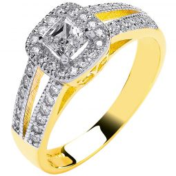 9ct Yellow Gold Ladies Princess Centre Split Shank Cz Ring