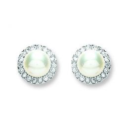 Silver Pearl & Cz Stud Earrings