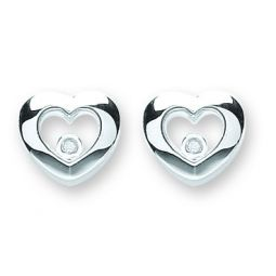 Silver Floating Cz Heart Stud Earrings 11.0 X 11.5mm