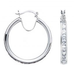 Silver Channel Set Cz Hoop Earrings