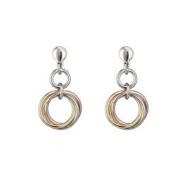 Silver, Rose & Yellow Circle Drop Earrings